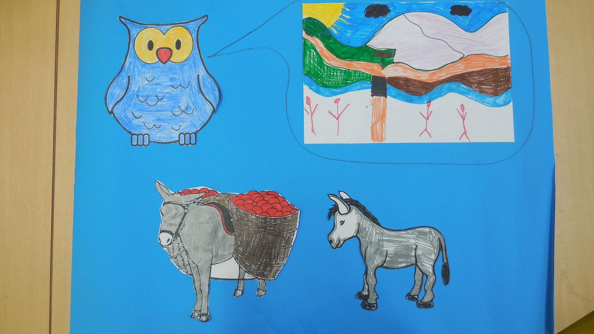 Die Eule erzählt den Eseln von einem tollen Land.