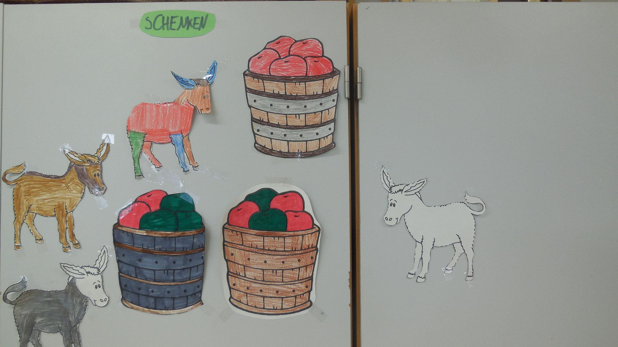 Der eine Esel verschenkt seine ganzen Äpfel.