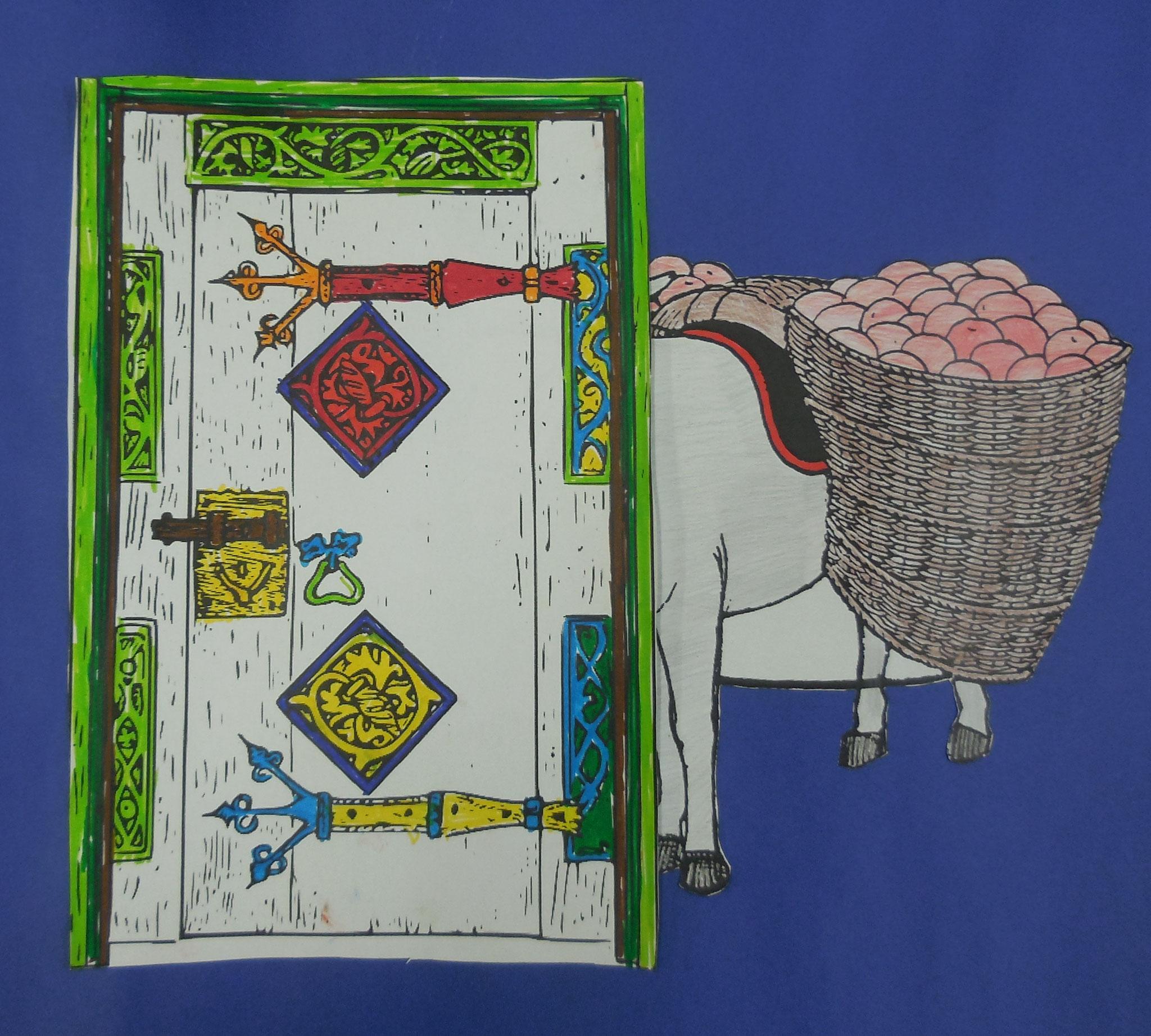 Der Esel passt nicht durch die Tüt, weil es zu viele Äpfel mitgenommen hat.