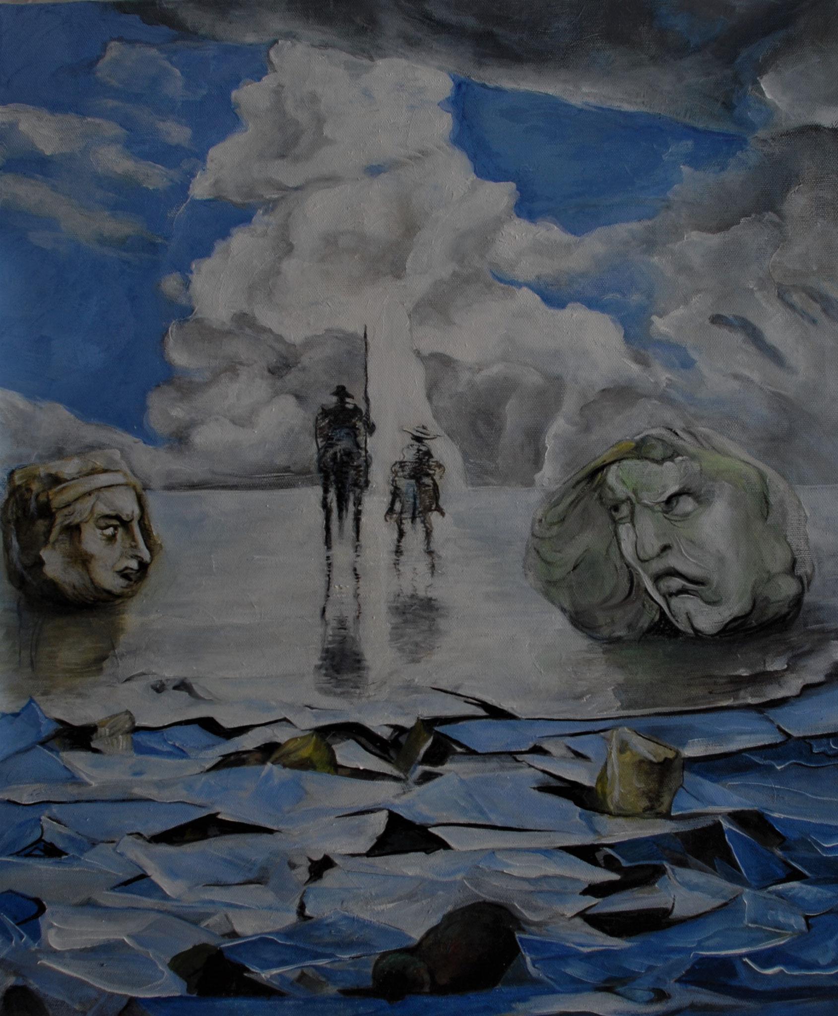 Don Quijote Der Aufbruch, Öl auf Leinwand  30 x 50 cm