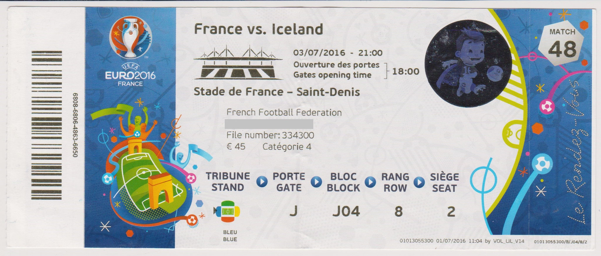 03/07/2016 St Denis :  1/4 Fin France  5 - 2  Islande  > Giroud x 2, Pogba, Payet, Griezmann  (Fra) -- Sigthórsson, B. Bjarnason  (Isl)  <