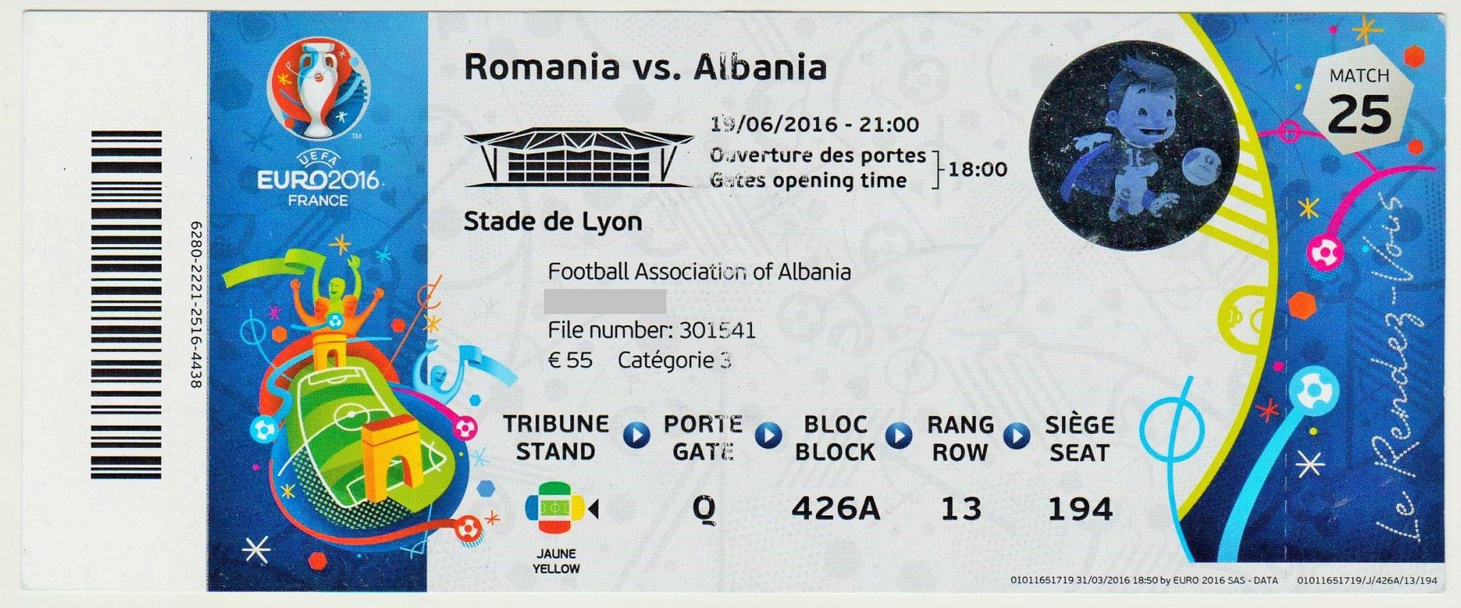 19/06/2016 Lyon :  Albanie  1 - 0  Roumanie > Sadiku (Alb) <