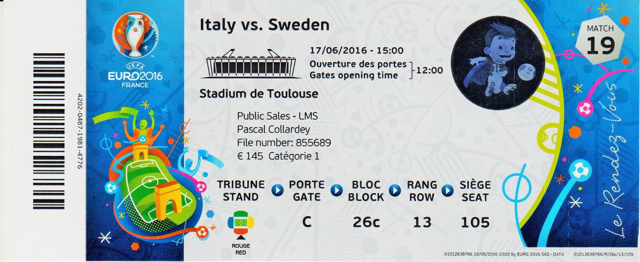 17/06/2016 Toulouse : Italie  1 - 0  Suède > Eder (Ita) <