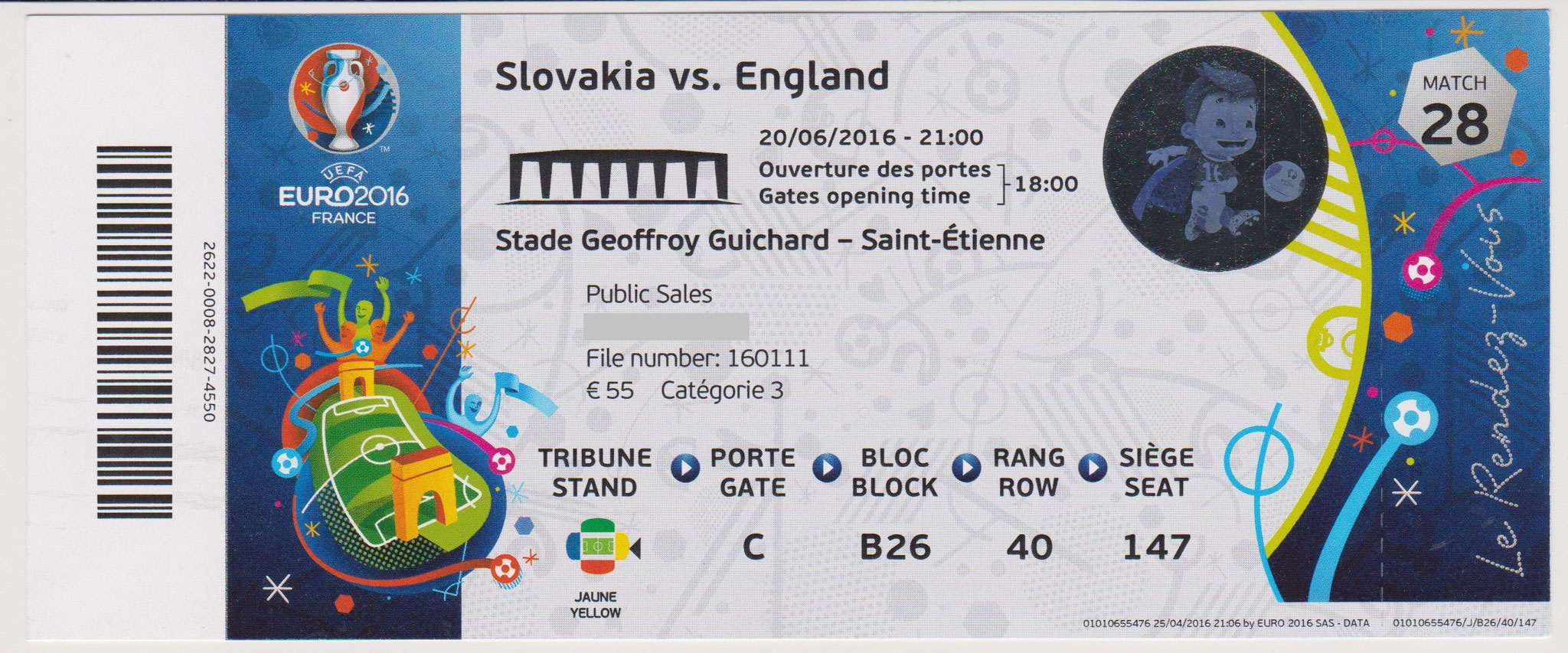 20/06/2016 St Etienne : Slovaquie  0 - 0  Angleterre