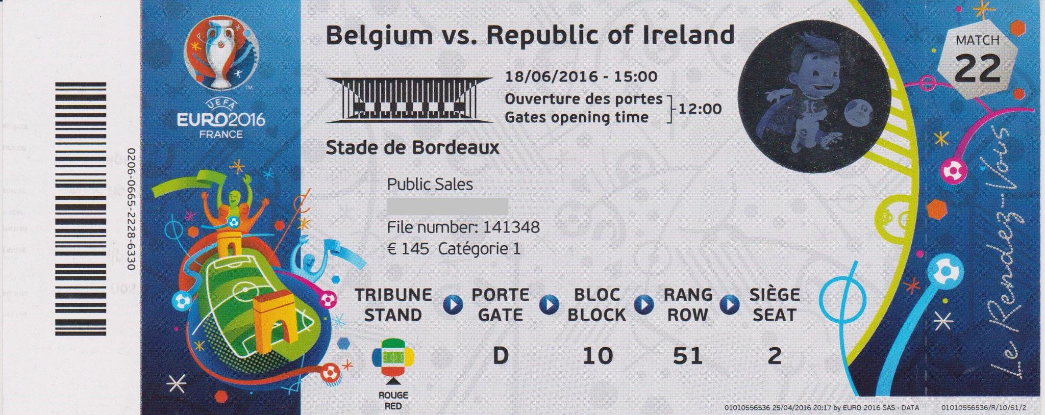 18/06/2016 Bordeaux : Belgique 3 - 0  Suède > Lukaku -2-, Wisel (Bel) <