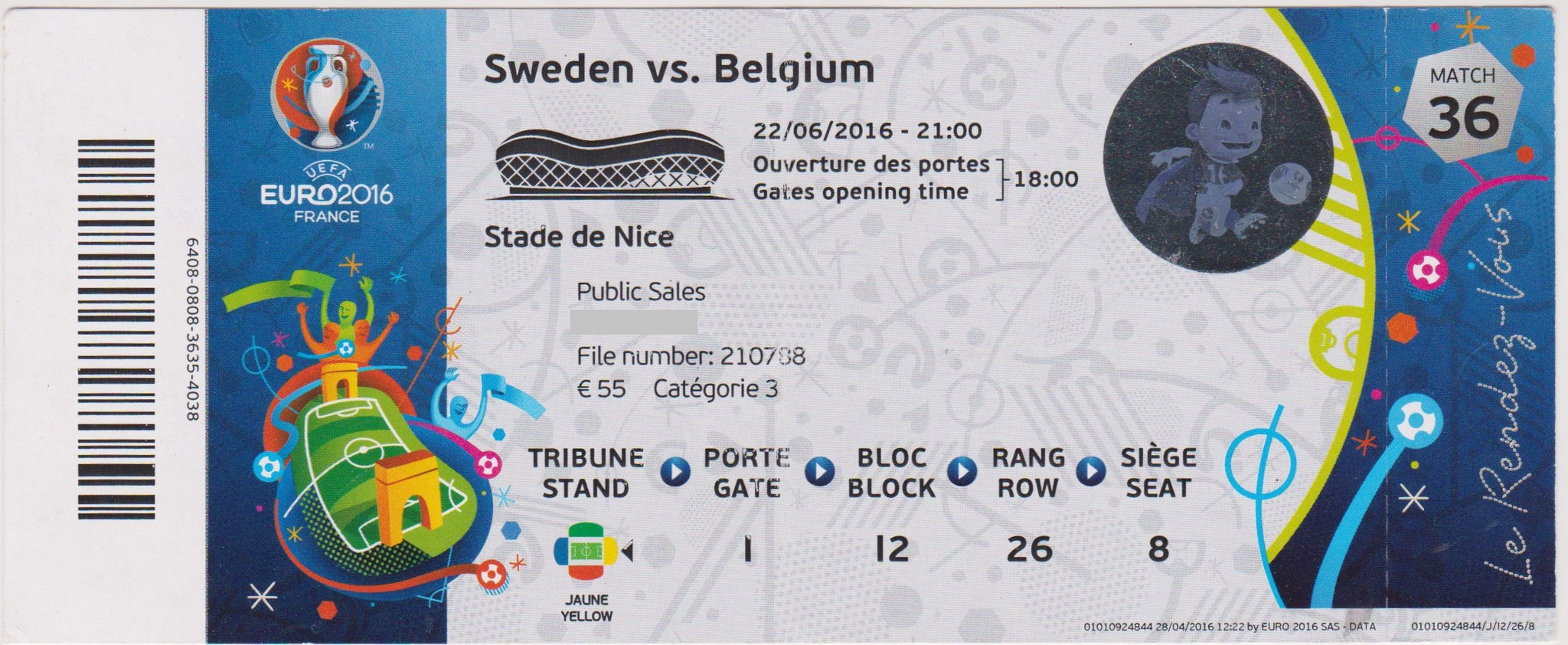 22/06/2016  Nice :  Suède  0 - 1  Belgique  >  Nainggolan  (Bel) <