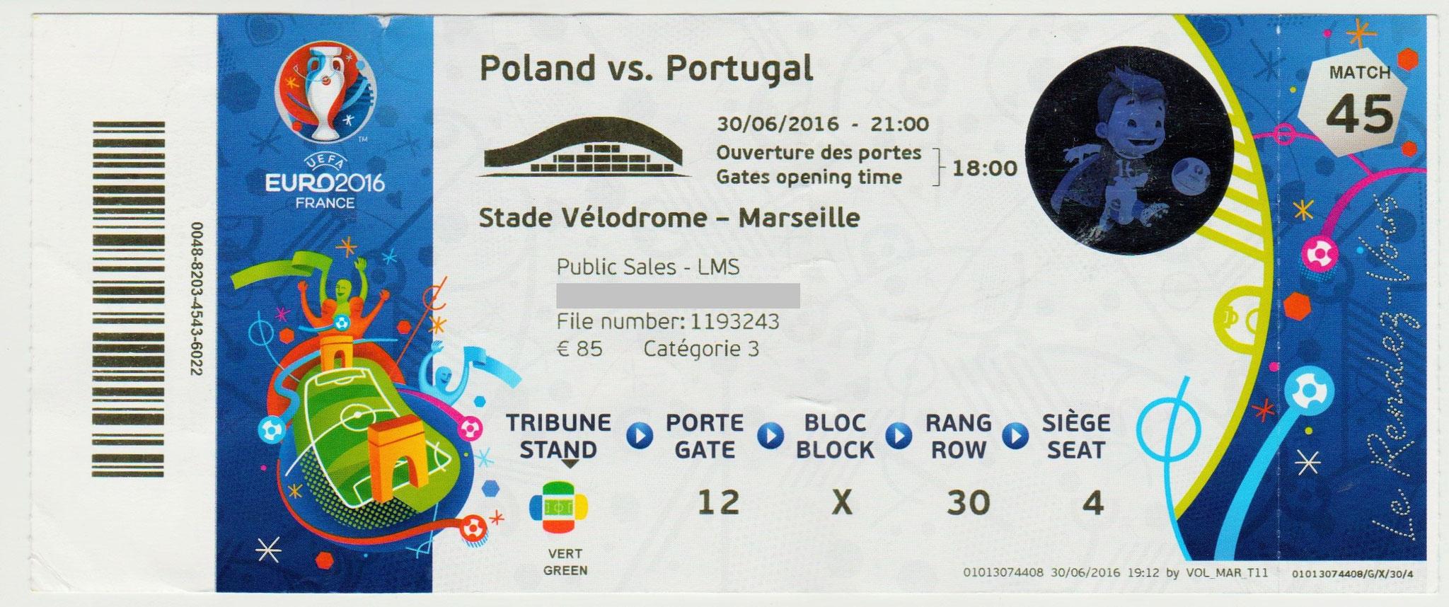 30/06/2016  Marseille :  1/4 Fin Portugal  1 - 1  (5-3 tab)  Pologne  > Renato Sanches (Por) -- Lewandowski  (Pol) <