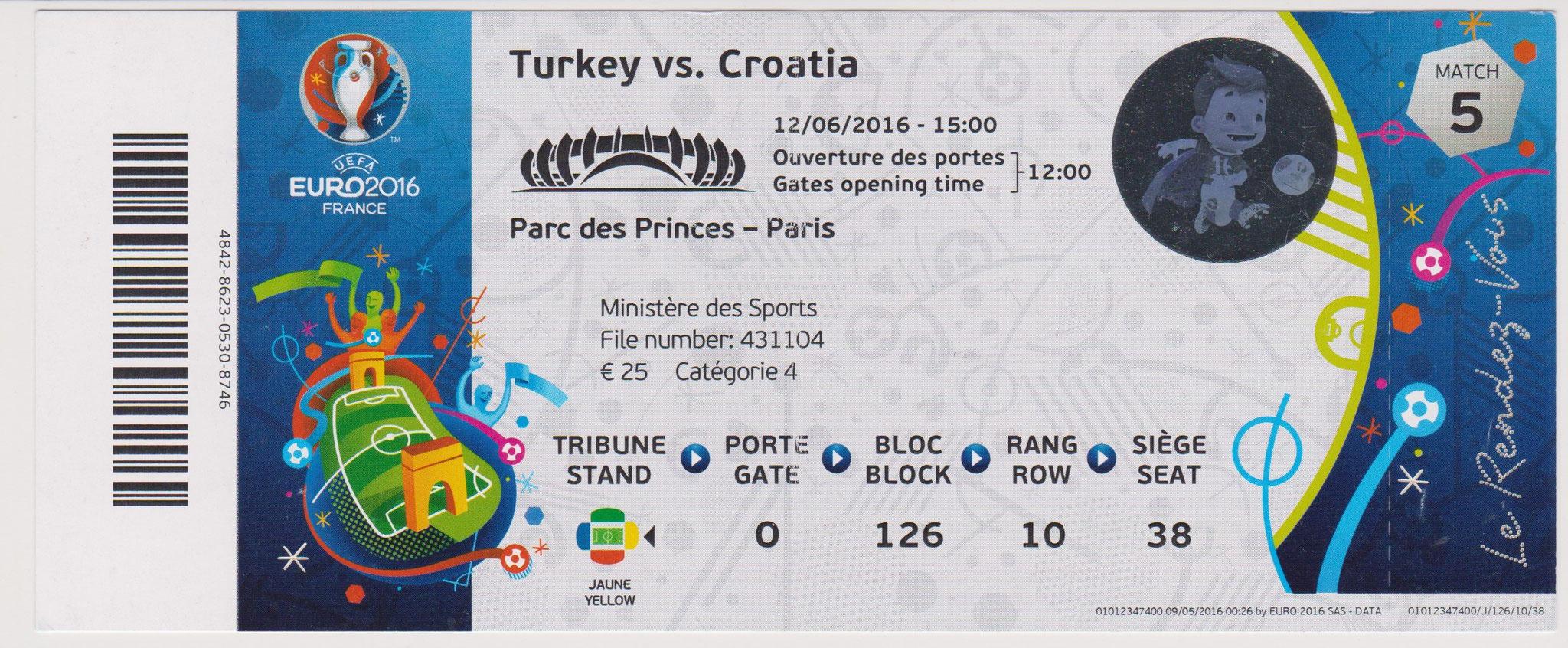 12/06/2016  Paris :  Croatia  1 - 0  Turquie  > Modric <