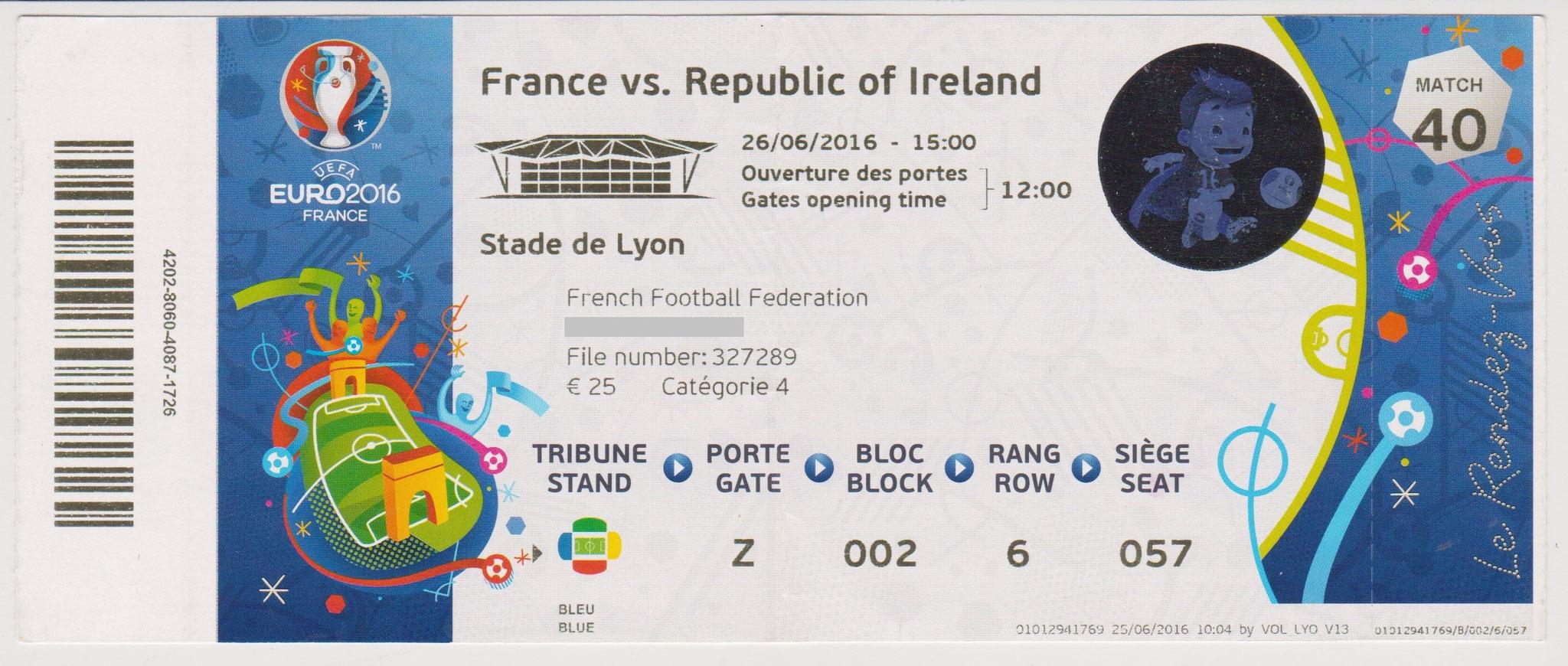 26/06/2016 Lyon : 1/8 Fin  France  2 - 1  Rép. d'Irlande > Griezmann X 2 (Fra) -- Brady (pen) (Rép Irl) <