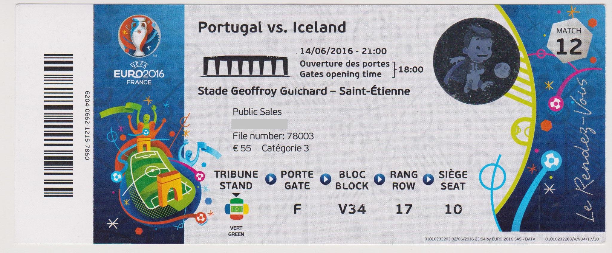 14/06/2016 St Etienne : Portugal  1 - 1  Islande  > Nani (Port) -- B. Bjarnason (Isl) <