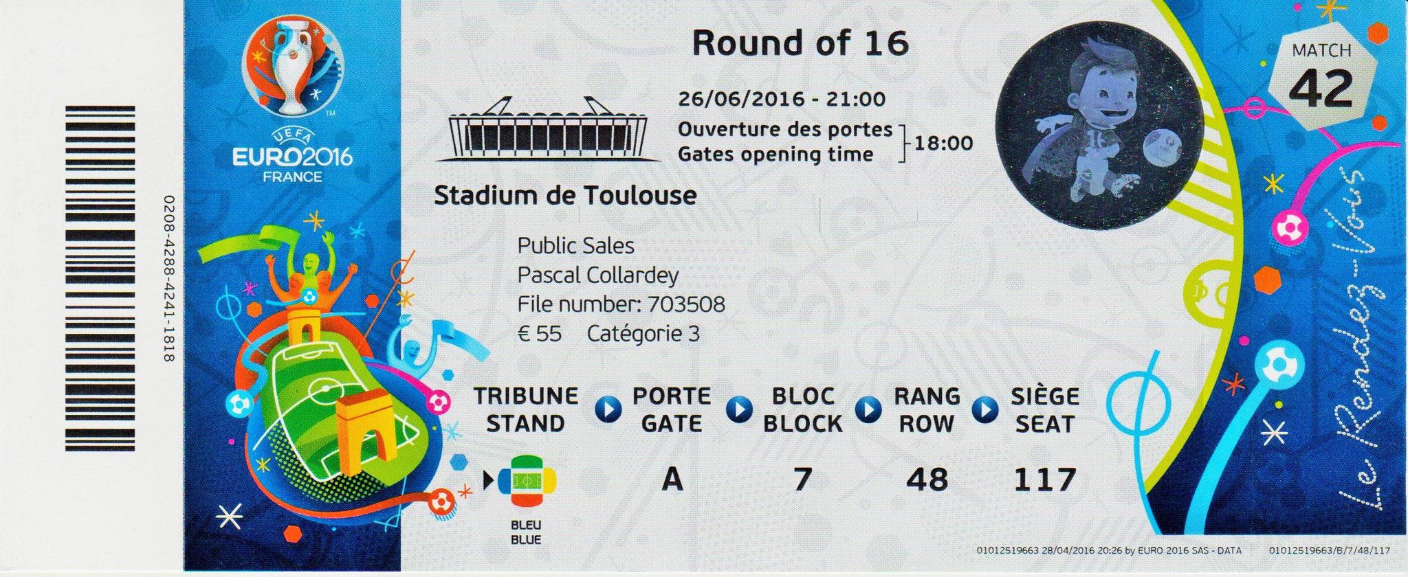 26/06/2016 Toulouse : 1/8 Fin Belgique  4 - 0  Hongrie  > Alderweireld, Batshuayi, Hazard, Carrasco <