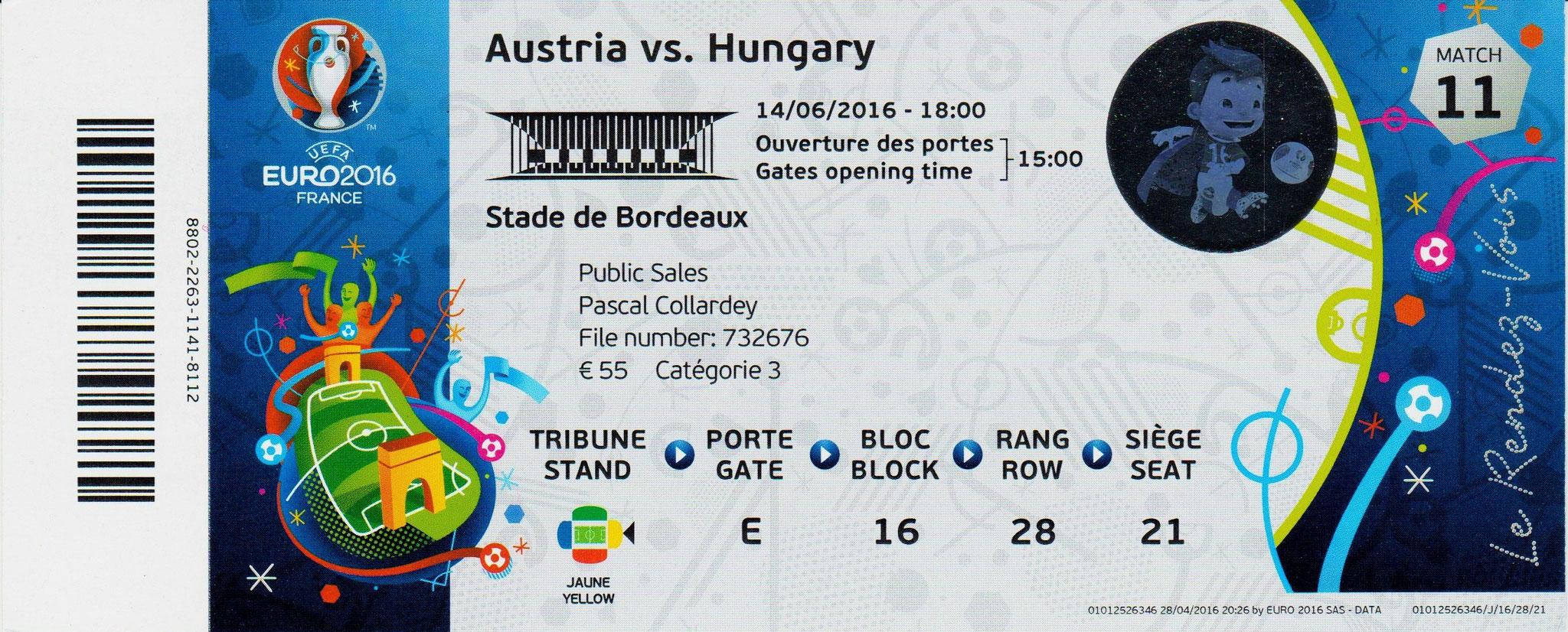 14/06/2016 Bordeaux : Hongrie  2 - 0  Autriche > Szalai, Stieber (Hun) <