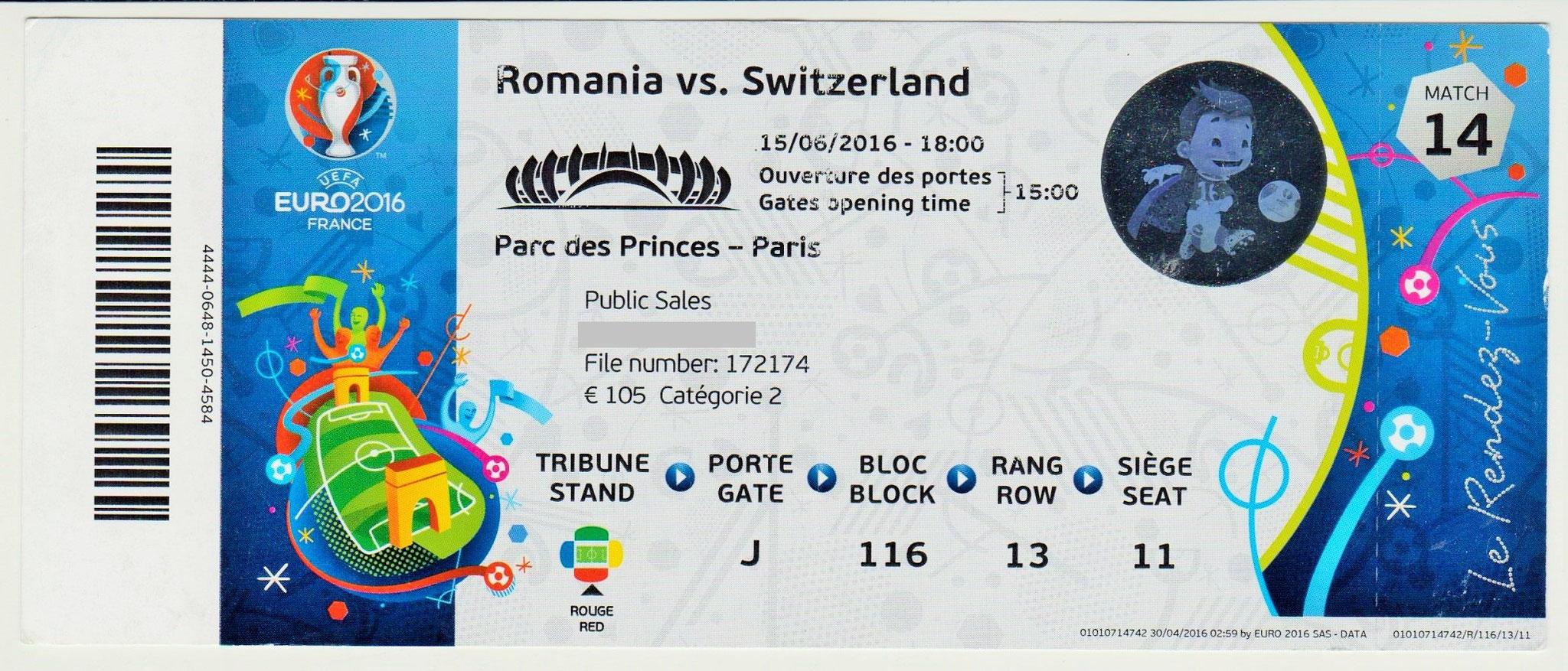 15/06/2016  Paris :  Roumanie 1 - 1  Suisse  > Stancu -sp- (Rou) -- Mehmedi (Sui) <