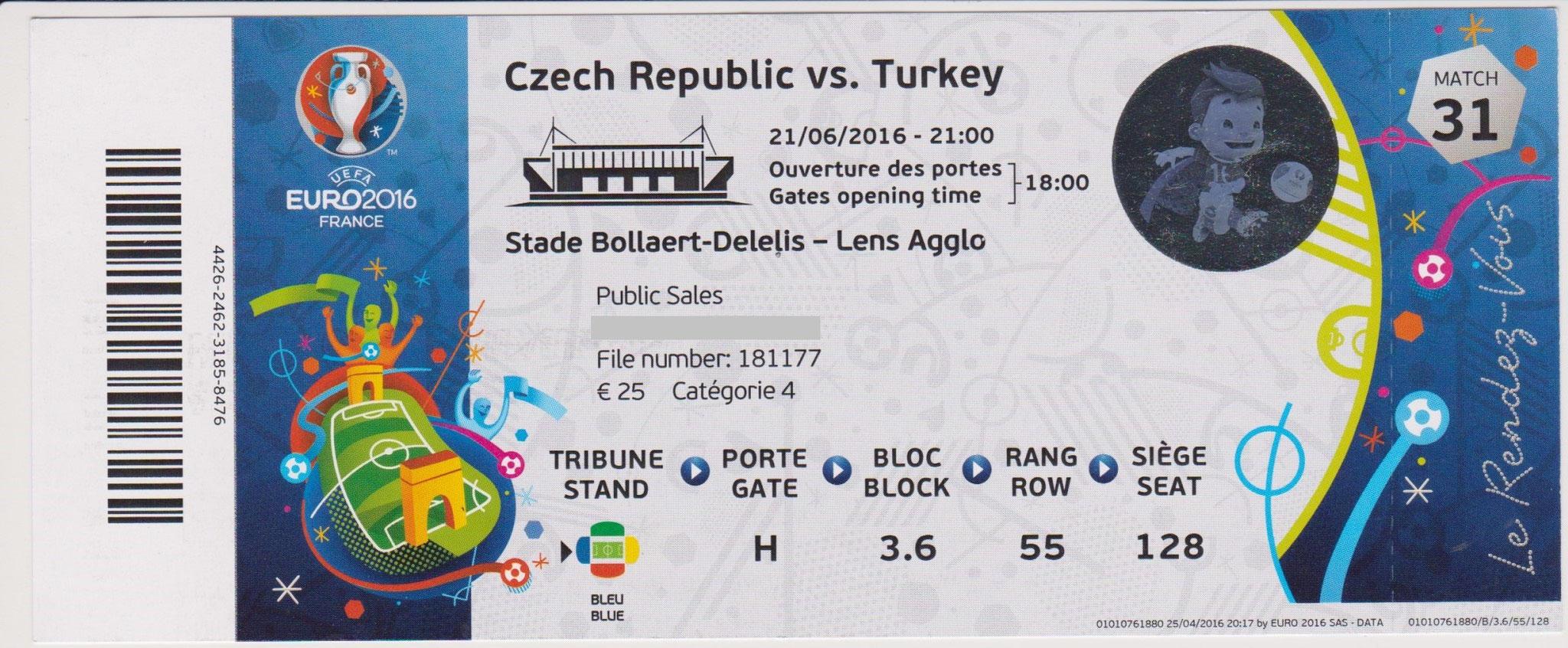 21/06/2016  Lens :  Turquie  2 - 0  République Tchèque  > Burak Yılmaz, Ozan Tufan (TUR)