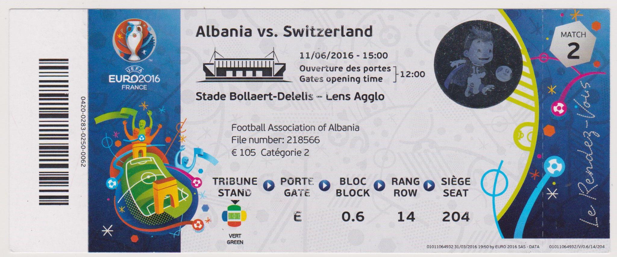 11/06/2016  Lens :  Suisse  1 - 0  Albanie  > Schär (Sui) <