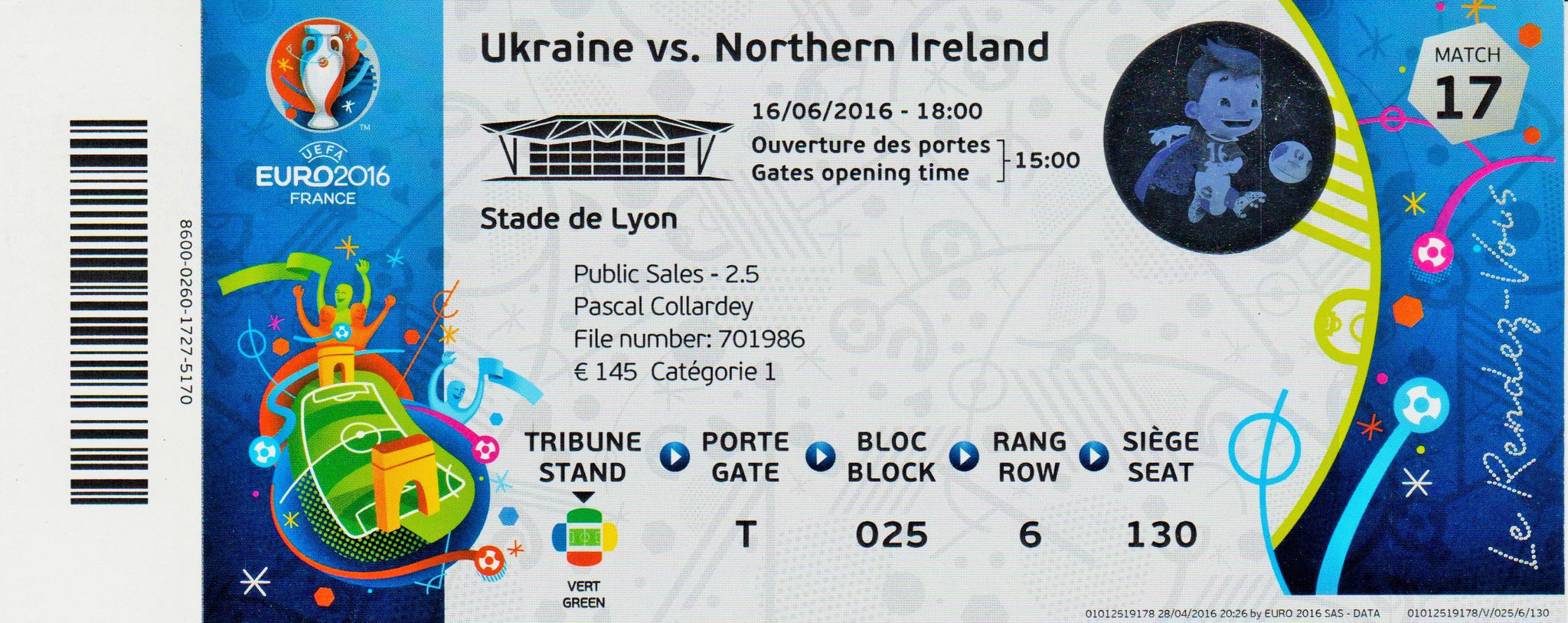 16/06/2016 Lyon : Irlande du Nord  2 - 0  Ukraine > Mc Auley, Mc Ginn  (N. Irl) <