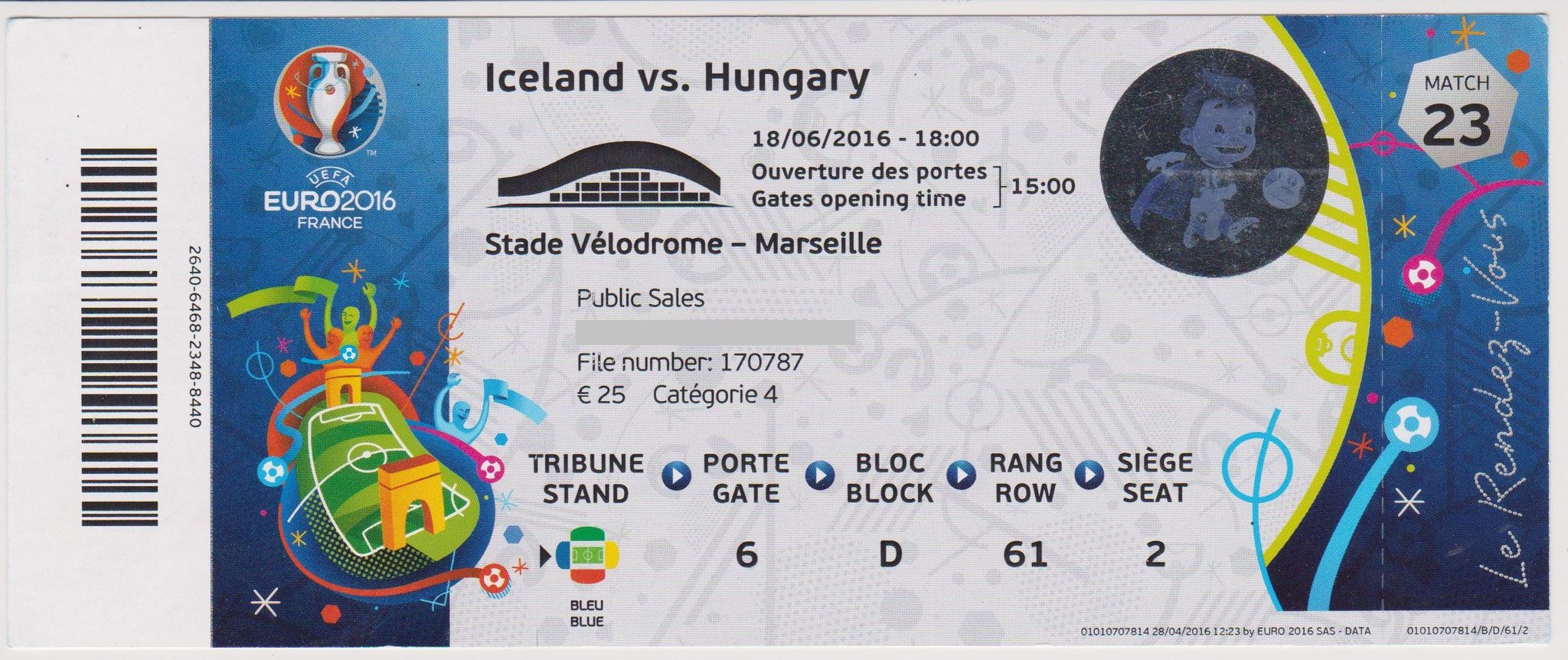 18/06/2016 Marseille :  Islande 1 - 1  Hongrie  > G. Sigurdsson (pen) (Isl) -- B. Saeversson (csc) (Hon)