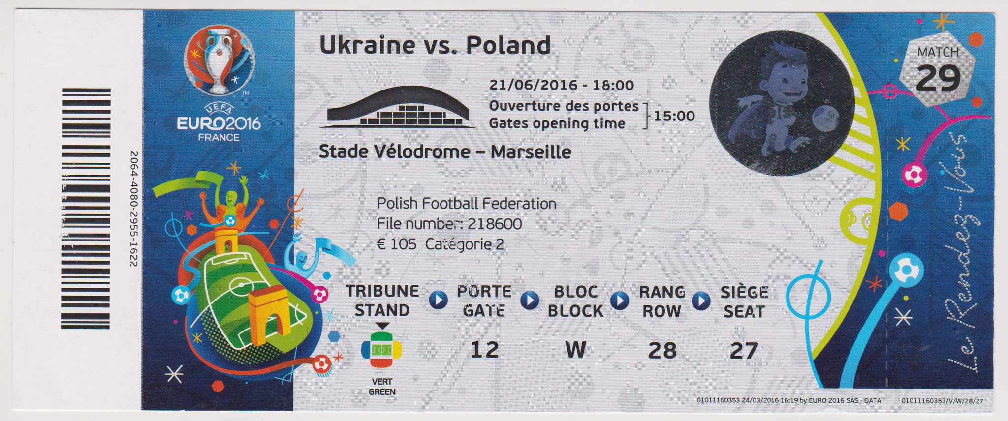 21/06/2016  Marseille :  Ukraine  0 - 1  Pologne  >  Blaszczykowski  (Pol) <