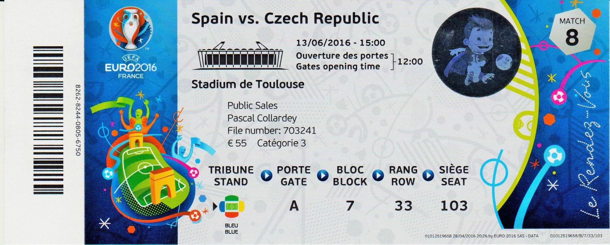 13/06/2016 Toulouse : Espagne  1 - 0  République Tchèque > Piqué (Spa) <
