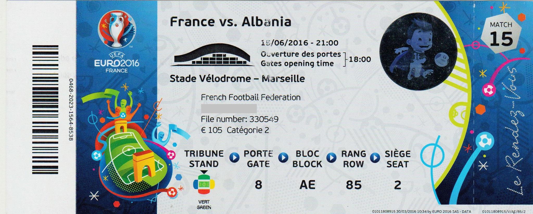 15/06/2016 Marseille : France  2 - 0  Albanie > Griezmann, Payet (Fra) <