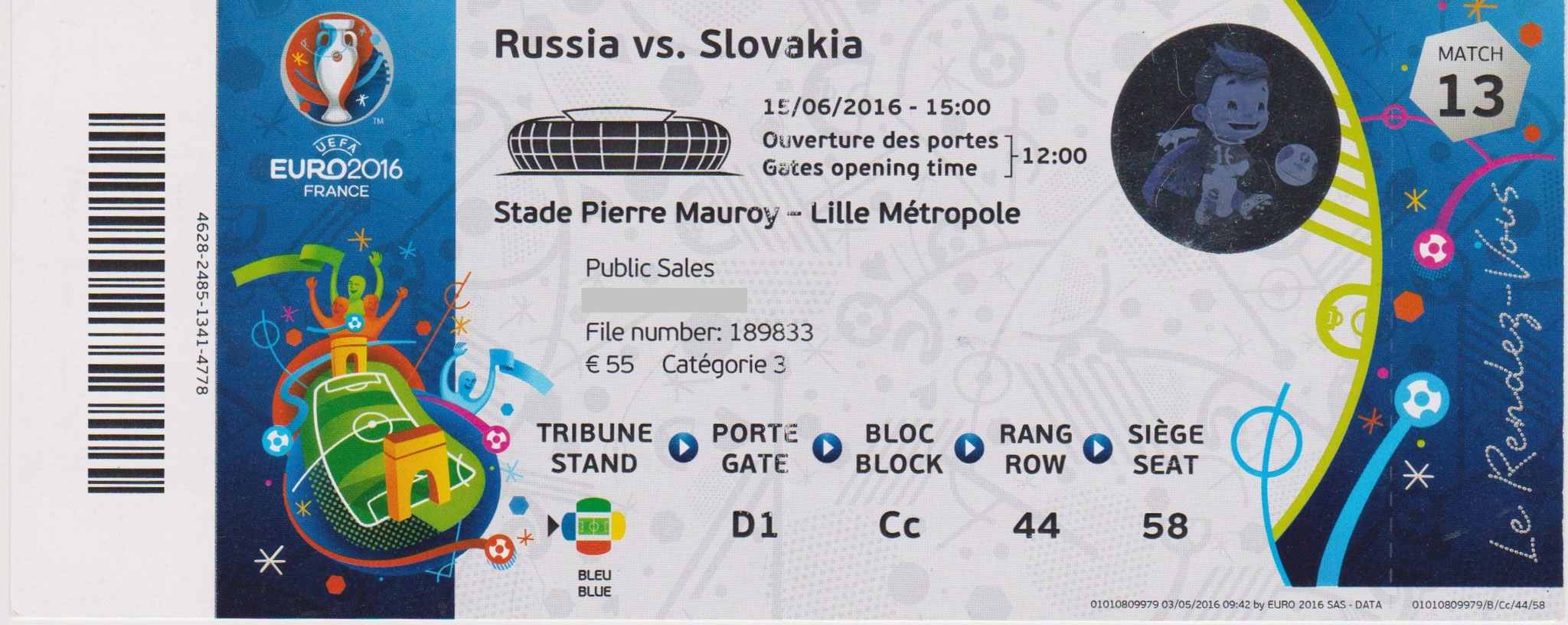 15/06/2016  Lille :  Rusie  1 - 2  Slovaquie  > Glushakov (Rus) -- Weiss, Hamsik  (Slov) <