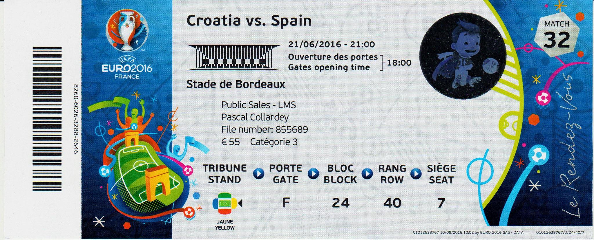 21/06/2016 Bordeaux : Croatie  2 - 1  Espagne  > Morata (Esp) -- Kalinic et Perisic (Cro) <