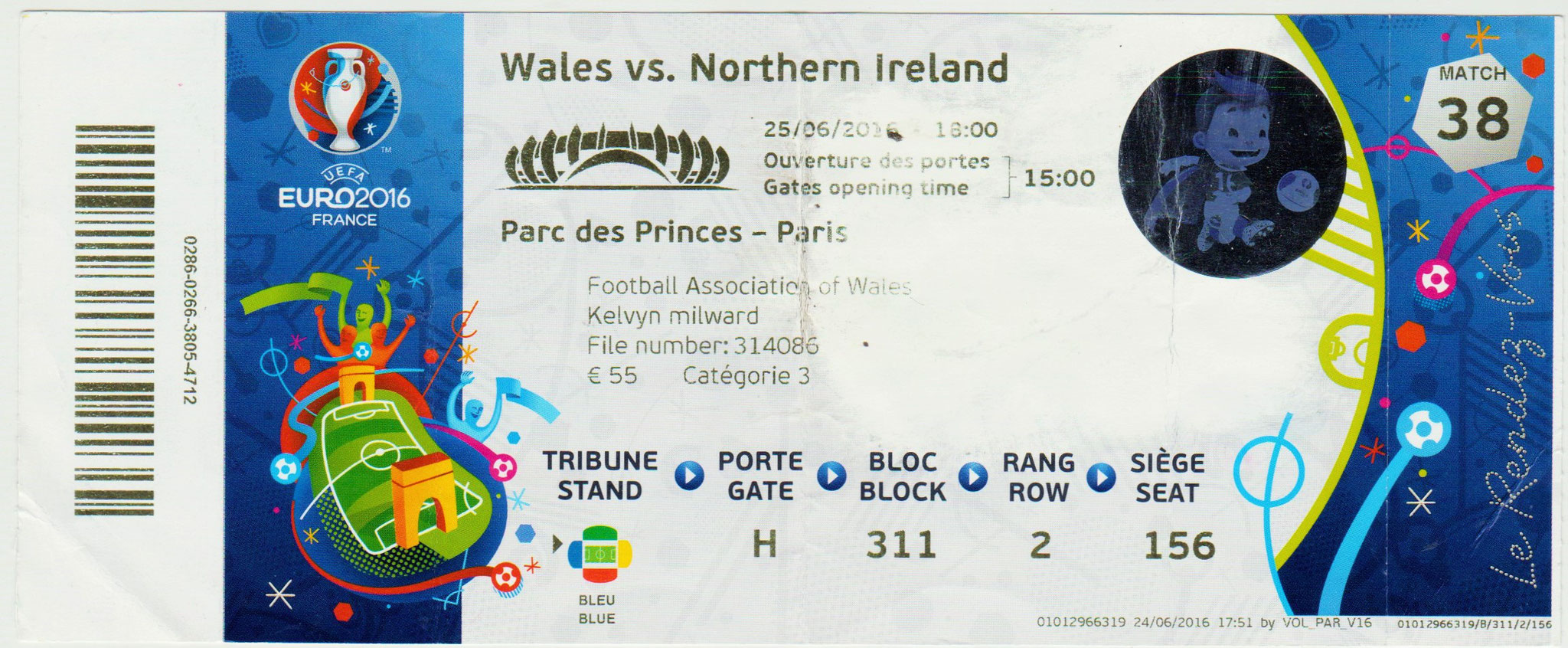 25/06/2016  Paris :  1/8 Fin Pays de Galles  1 - 0  Irlande du Nord  > Mc Auley -csc- (PDG) <