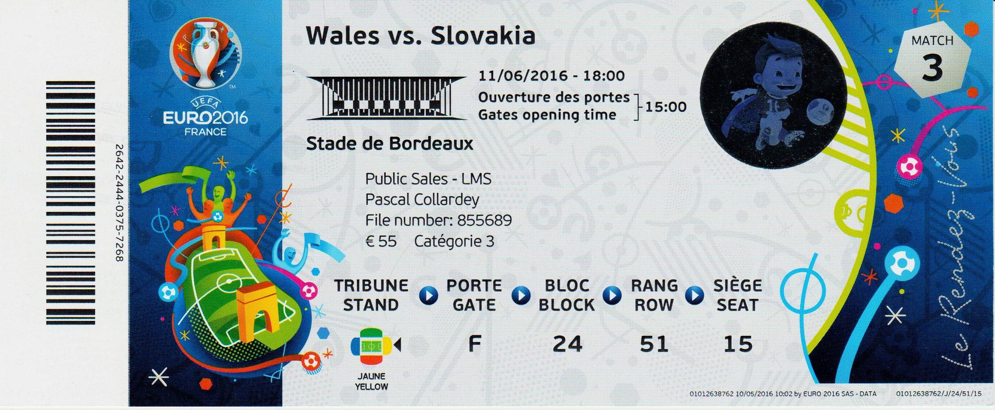 11/06/2016 Bordeaux : Pays de Galles  2 - 1  Slovaquie   > Bale et Robson-Kanu (Wal) -- Duda (Slk) <