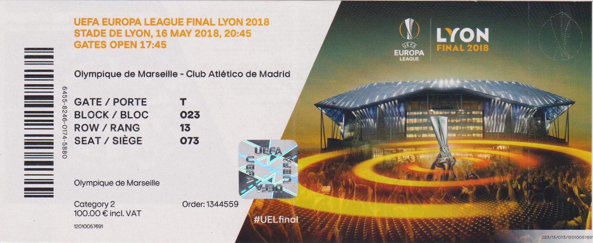 2018 à Lyon :  Athletico Madrid - Olympique Marseille  3 - 0