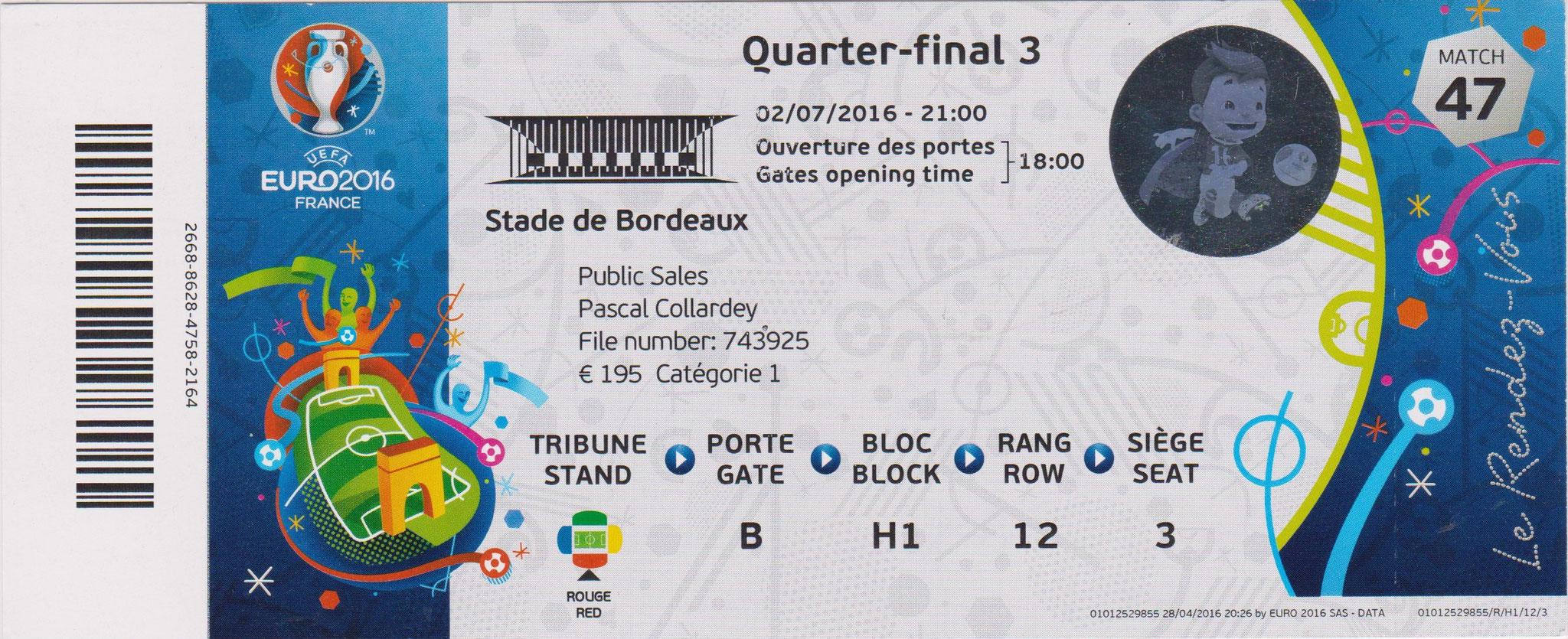 02/07/2016 Bordeaux :  1/4 Fin  Allemagne  1 - 1 (6-5 tab)  Italie > Özil (Ger) -- Bonucci-sp- (Ita) <