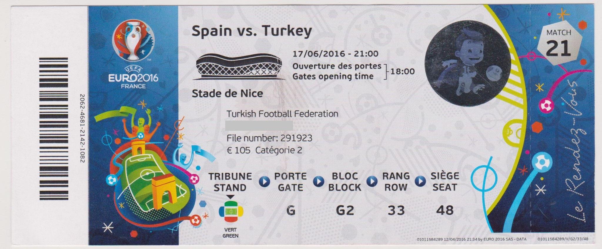 17/06/2016  Nice :  Espagne  3 - 0 Turquie  > Morata (2), Nolito (Esp) <