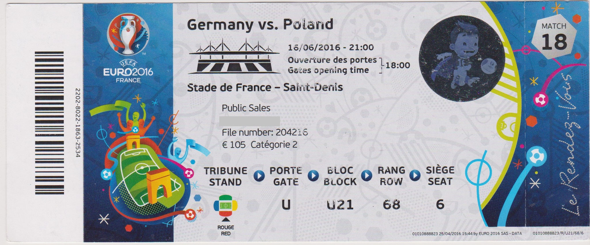 16/06/2016  St Denis  :  Allemagne  0 - 0  Pologne