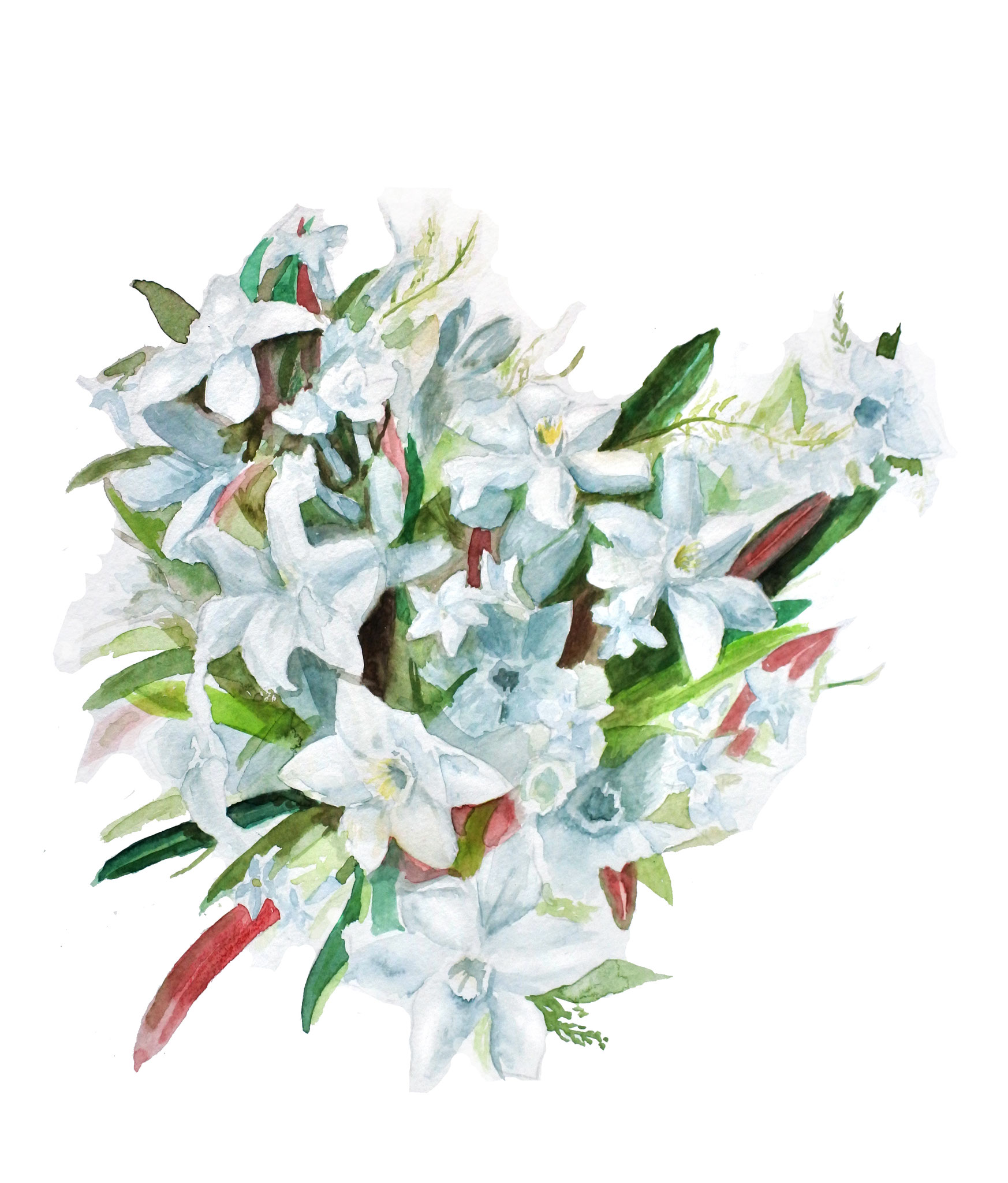 'Bridal bouquet' (2018) Watercolors & photoshop, illustration for jubilee-inventation, painted from a black and white photograph