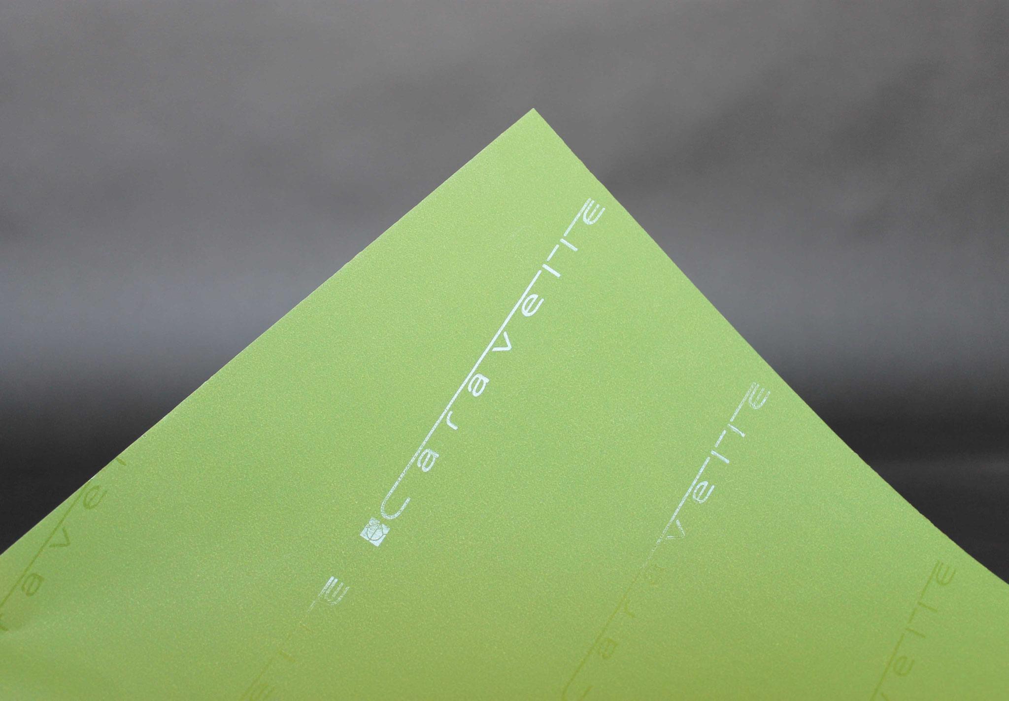 Druck: UV-Glanz, Papier: einseitig Grün