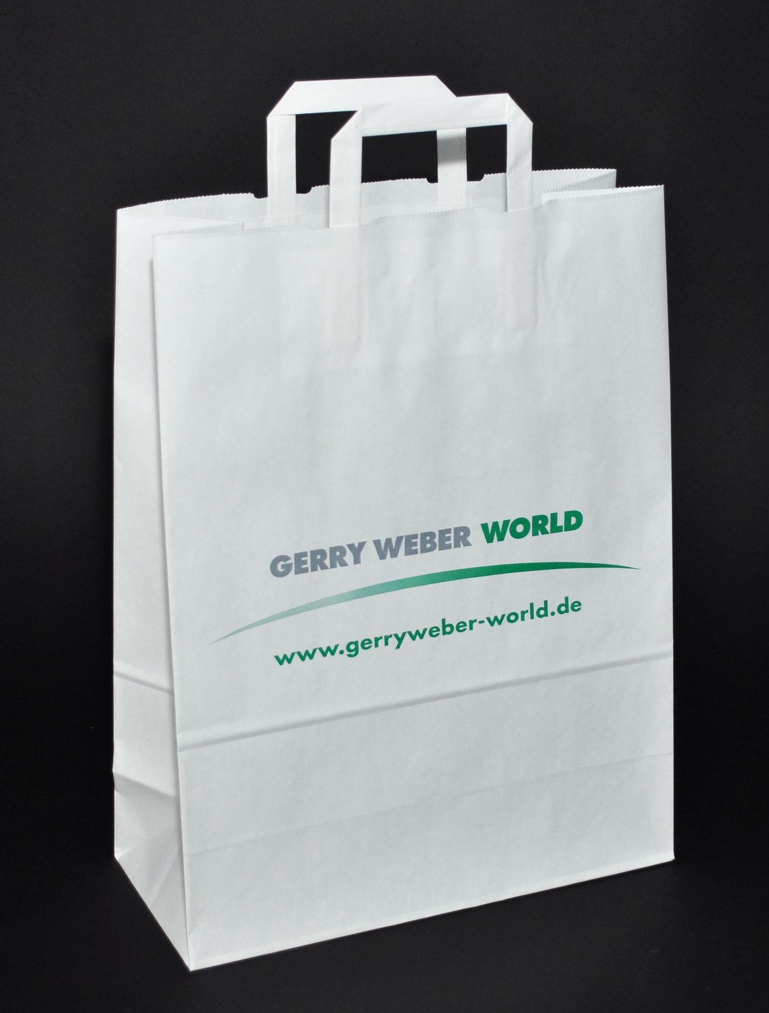 Papier Weiß-Kraft, Flexodruck in Grau und Grün