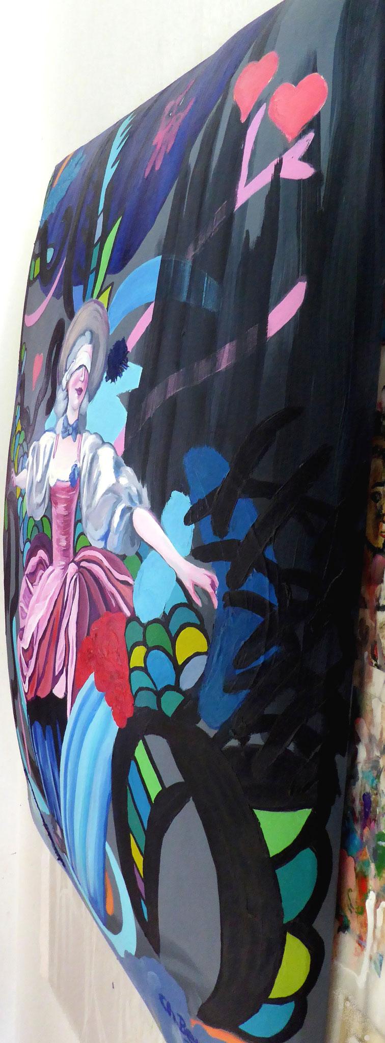 """Eine von 30 Matratzenleinwänden - """"Herzekrank"""", 2010, Öl auf Leinwand, 70x100cm © Christian Benz"""