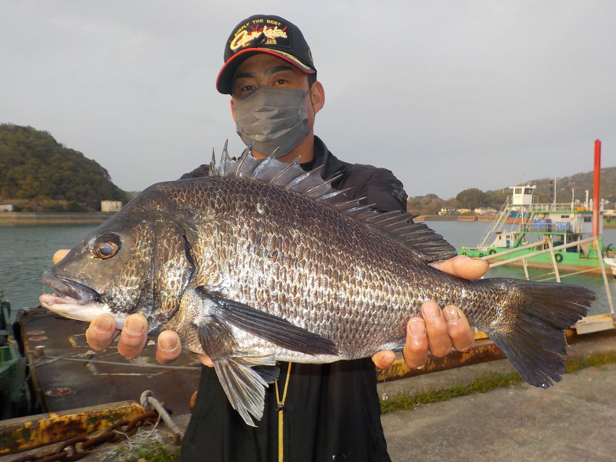 3月14日 磯釣りで坂口さん ガバチヌ50cmオーバー