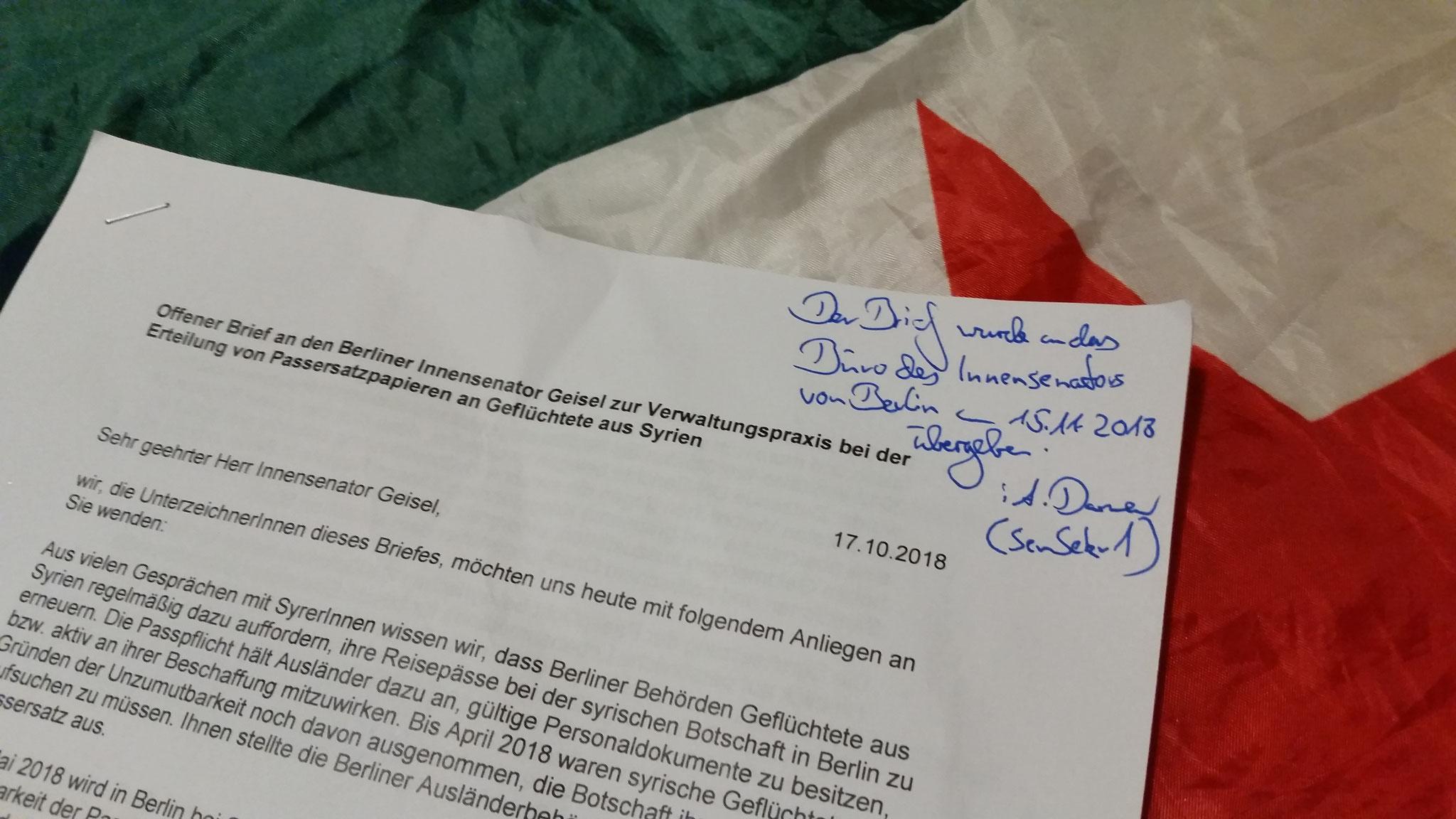 Eingangsbestätigung des offenen Briefes an Innensenator Andreas Geisel bei der Senatsverwaltung für Inneses und Sport