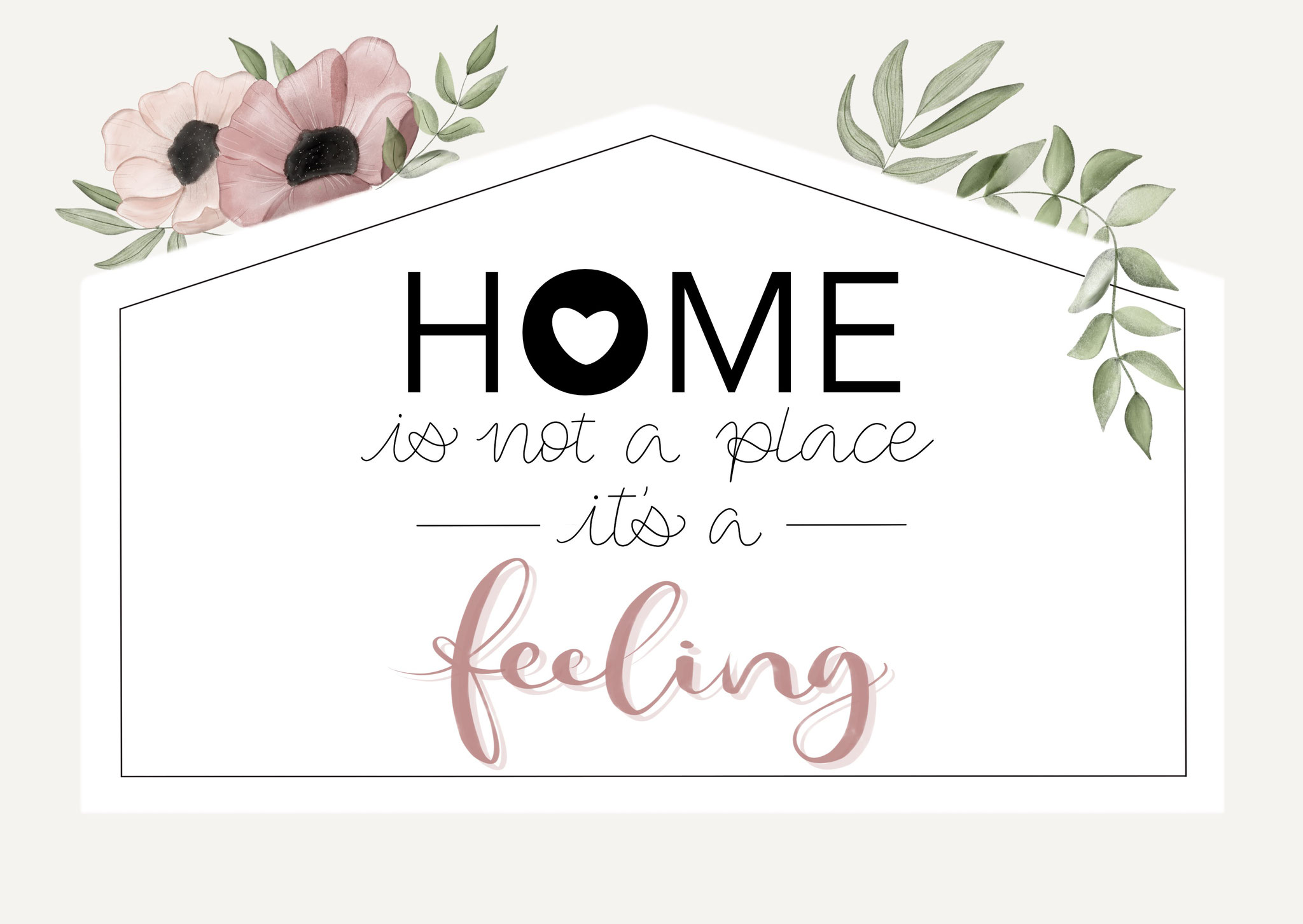 "Karte ""Home is a feeling"""