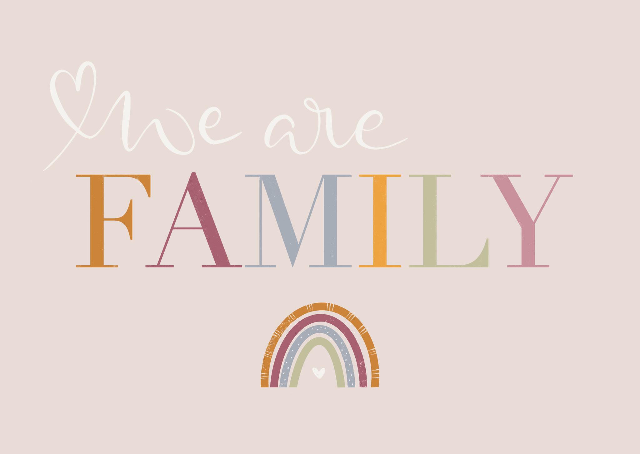 """Karte """"Family"""" rosa"""