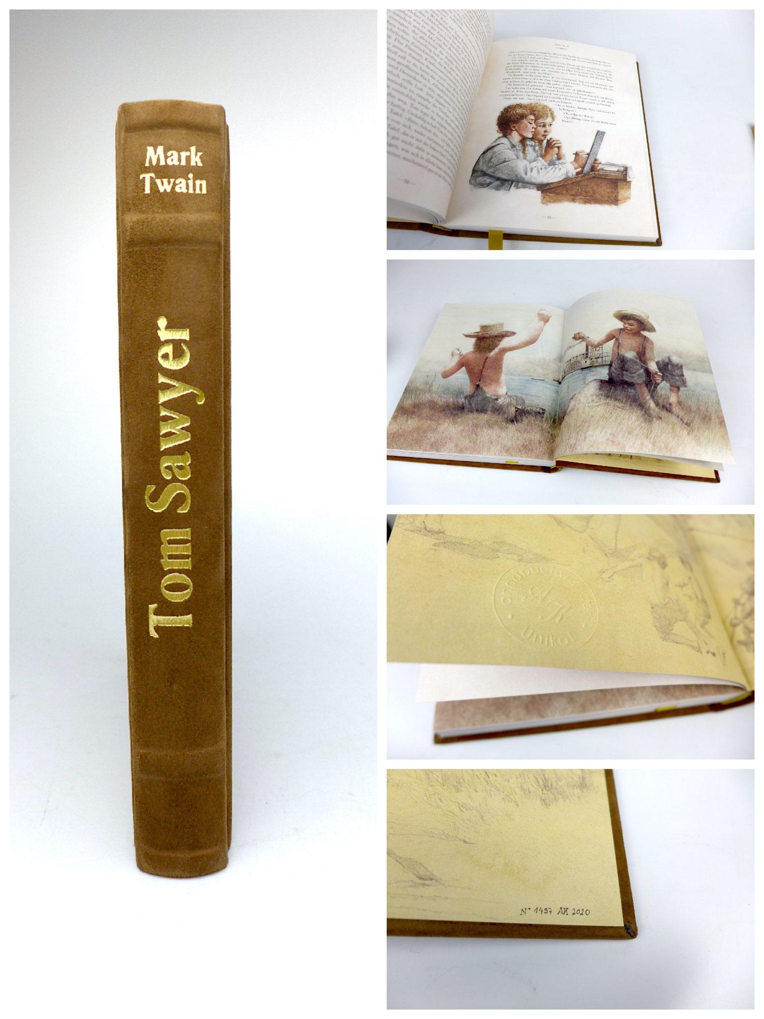 Tom Sawyer - Abenteuerbuch von Mark Twain in Leder gebunden