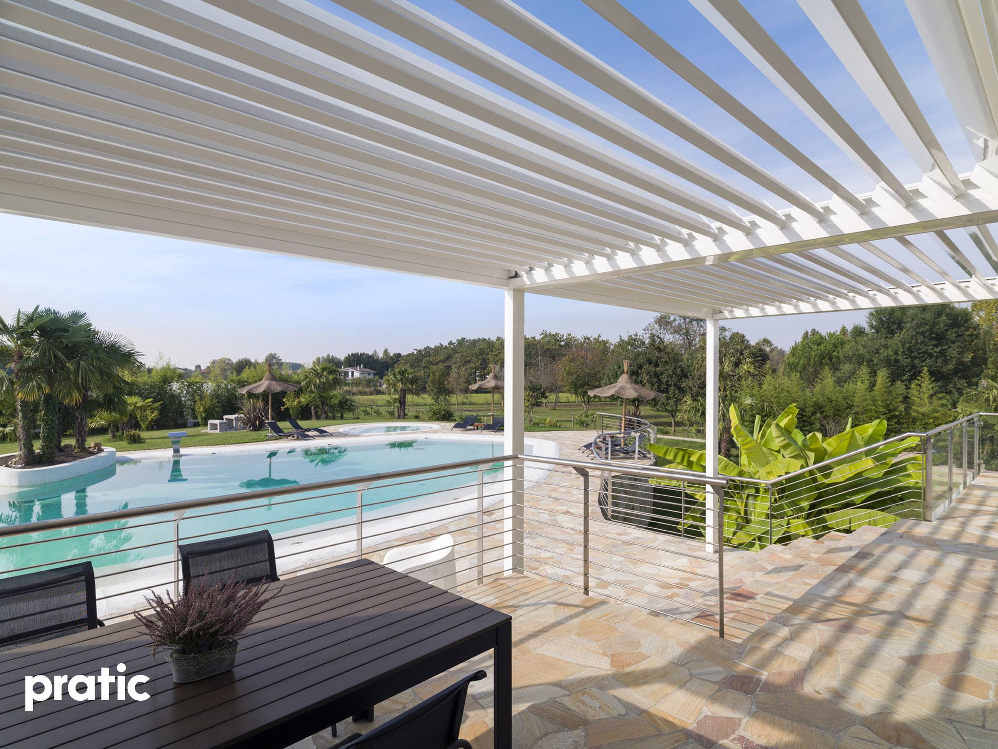 Regenschutz und Sonnenschutz Lamellendach