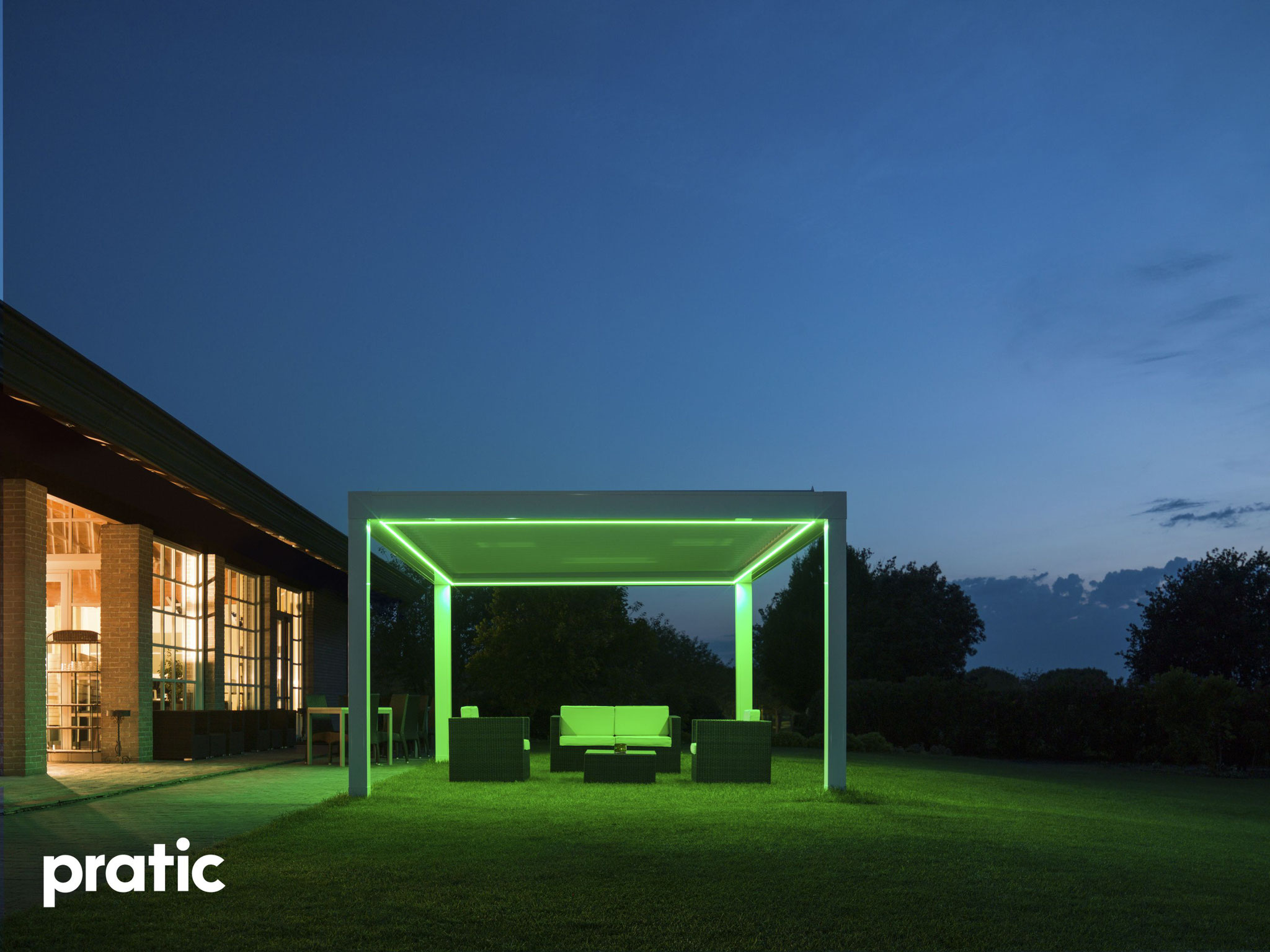 Pratic Lamellendach mit stimmiger LED Beleuchtung