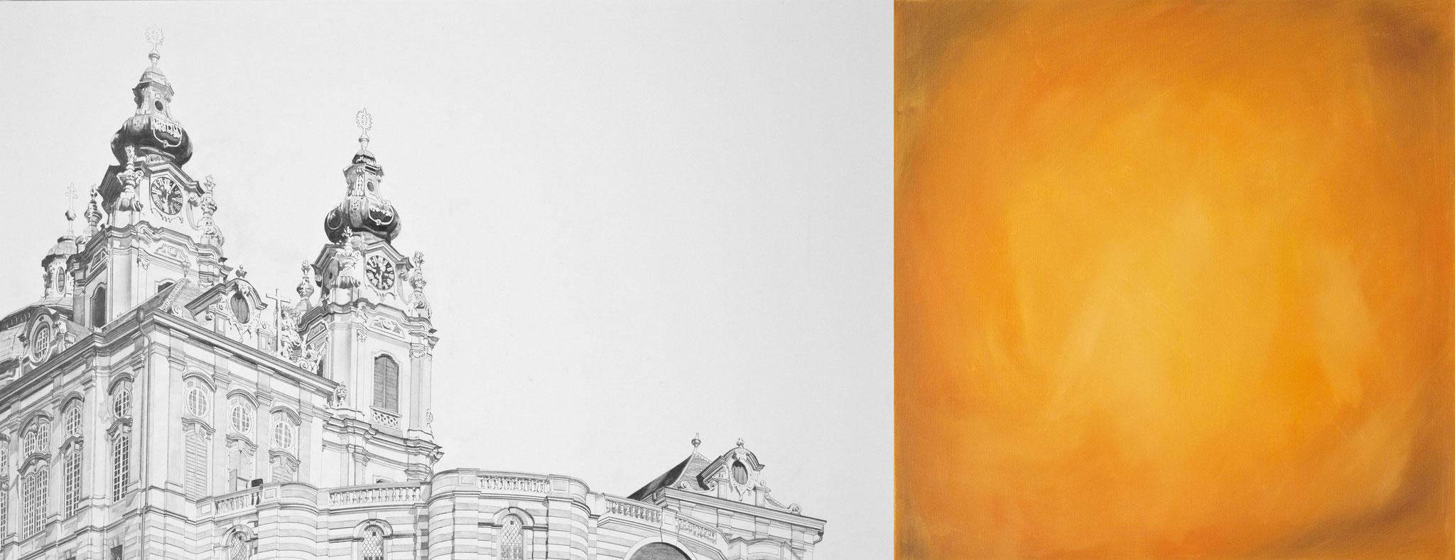 ›Stift Melk‹, Bleistift, Acryl auf Leinwand, 130 x 50 cm, 2015