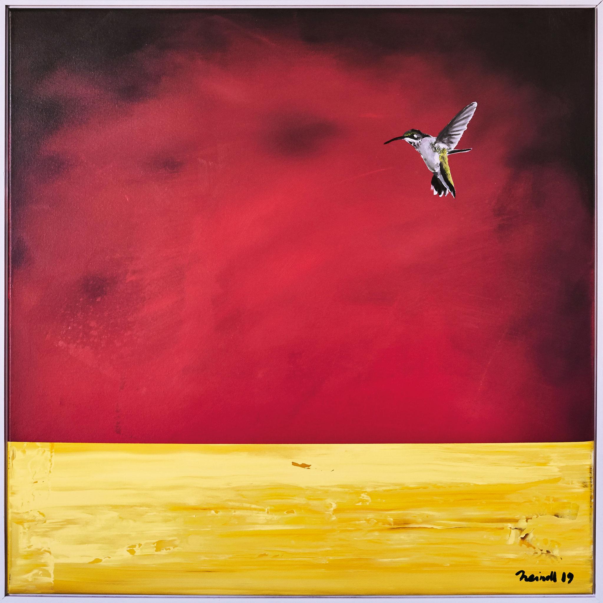 ›Kolibri‹, Acryl auf Leinwand, 102,5 x 102,5 cm, 2019