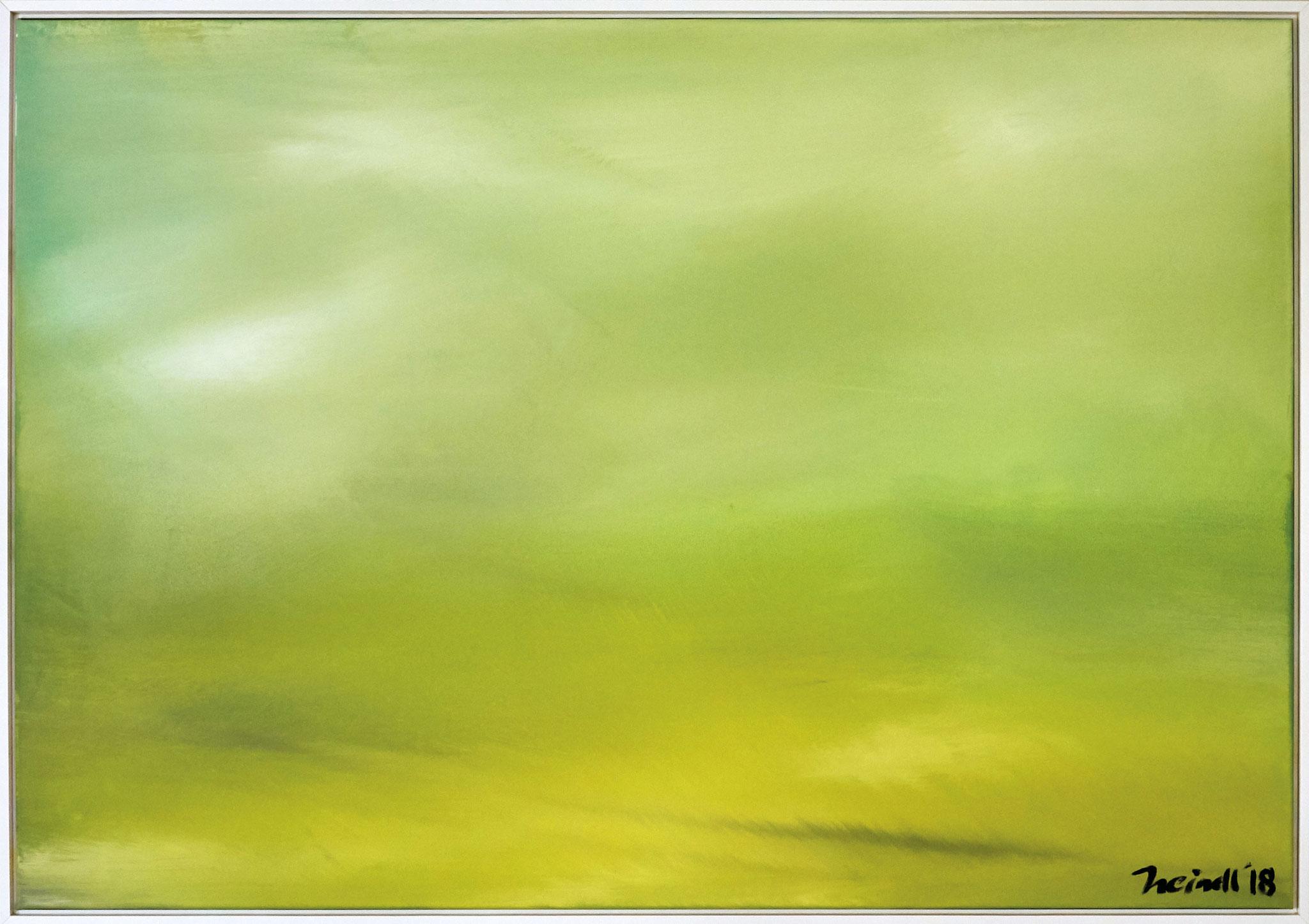 ›Green Sky‹, Acryl auf Leinwand, 100 x 70 cm, 2018