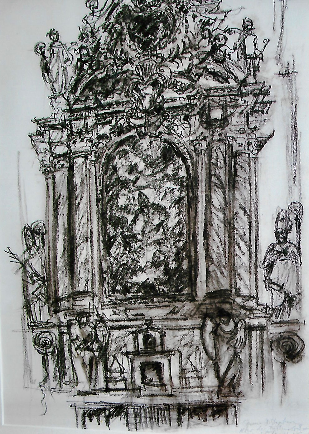 Seitenaltar im Dom zu Passau, Kohlestift