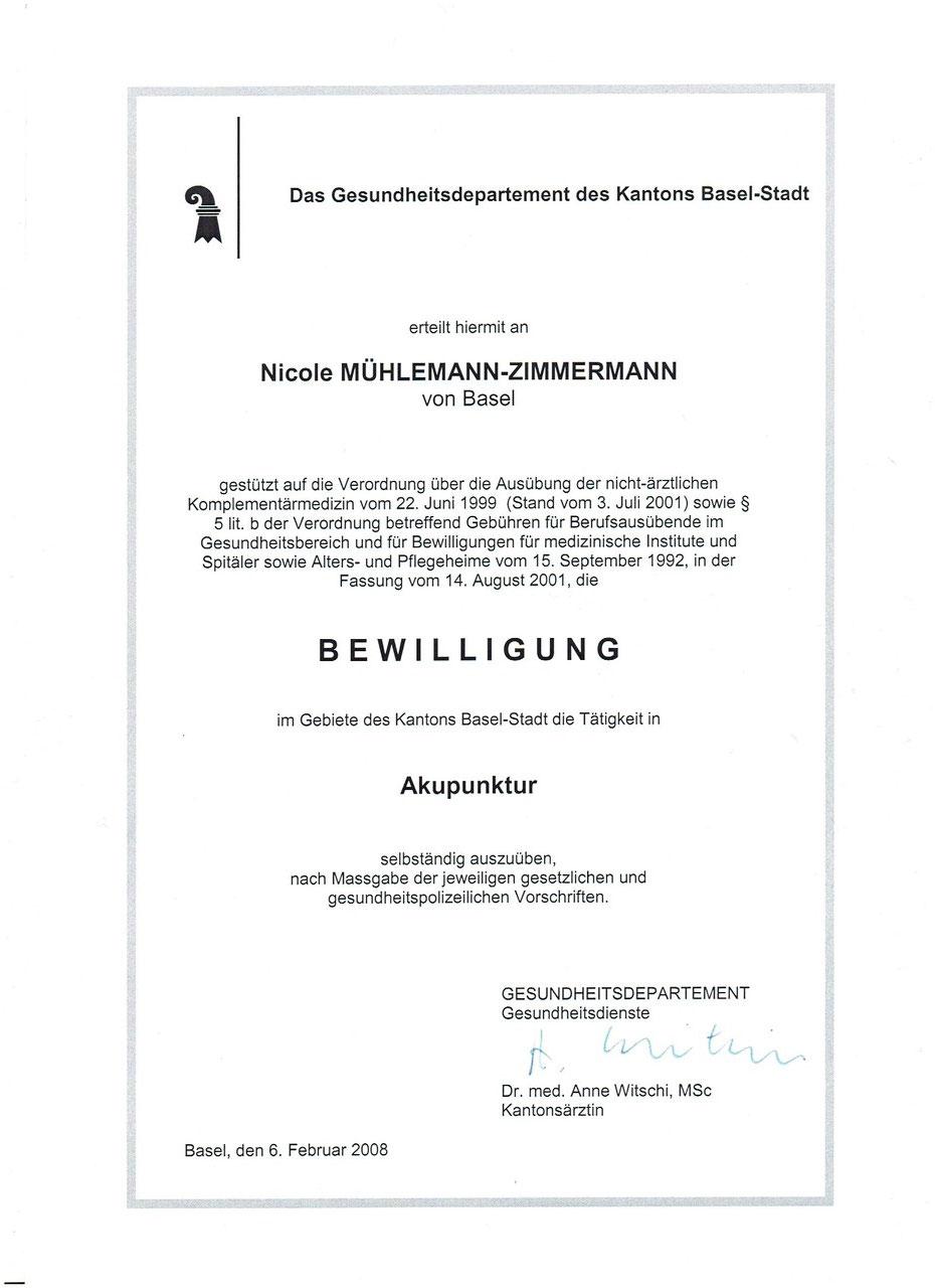 Bewilligung Kanton Basel Stadt