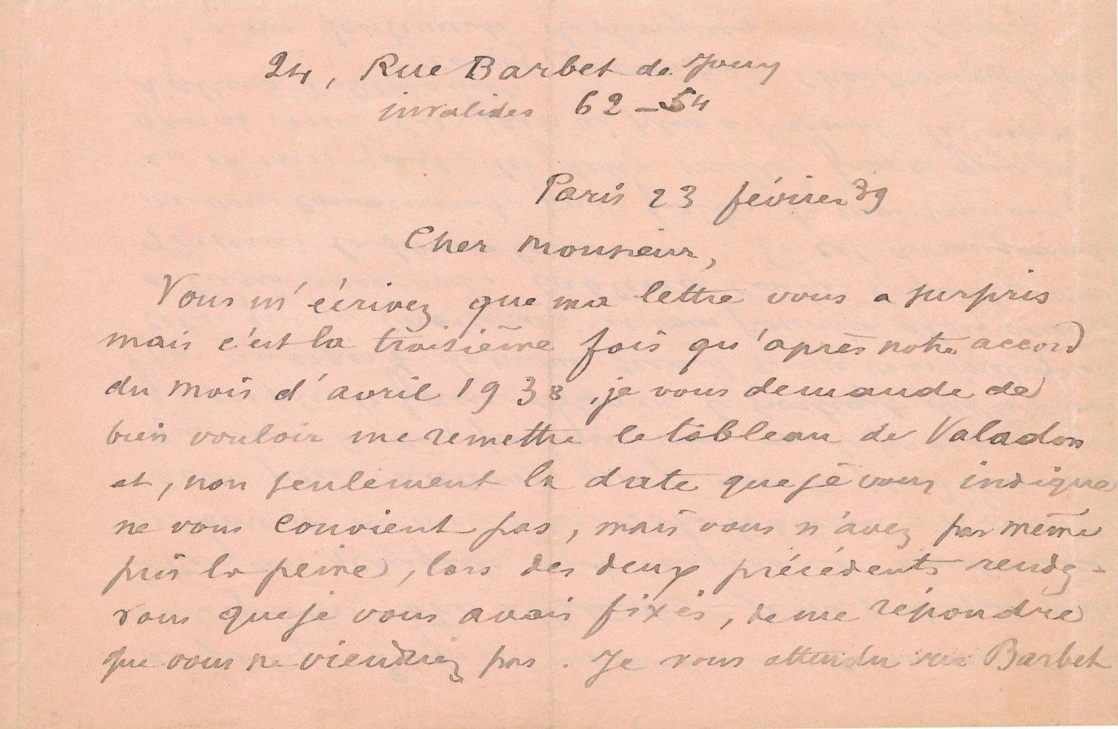 Francis Carco lettre autographe