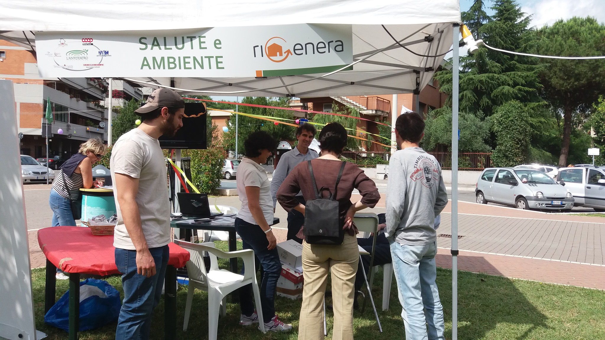 "Stand of Rigenera realized on 11 June 2016 c/o ""Parco dell'Anfiteatro"" within the Quarter Block Party"
